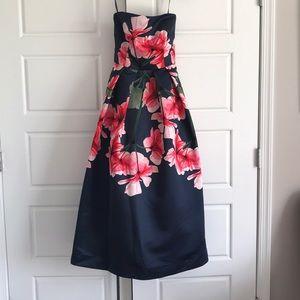 David Meister strapless T-Length Floral Dress